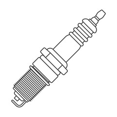 Icon car spark plug. Outline drawing. Vector on white background