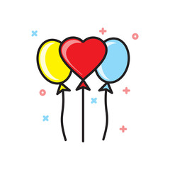 Valentines day ballons icon on white background for graphic and web design, Modern simple vector sign. Internet concept. Trendy symbol for website design web button or mobile