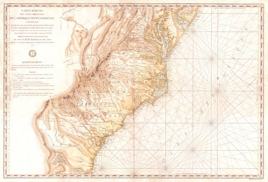 Old Map of Georgia, North Carolina, South Carolina, Virginia and Maryland, 1778, Sartine