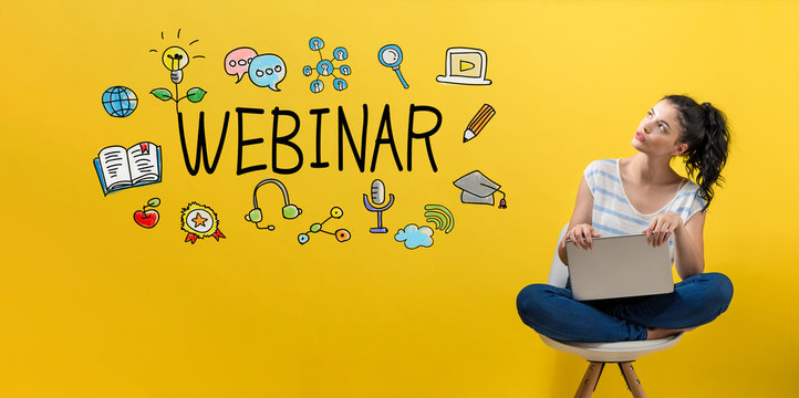 Webinar with young woman using a laptop computer