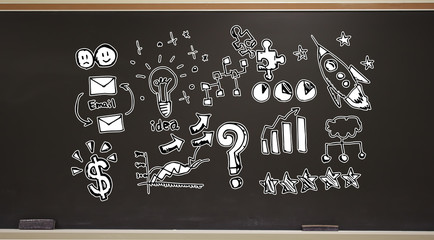 Business strategy ideas on a blackboard with erasers