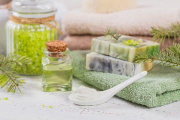 Natural cosmetic oil, sea salt, facial mask and natural handmade soap with coniferous extract