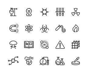Chemical line icons. Toxic chemicals, laboratory equipment, scientific research molecular formula. Scientific symbols vector set