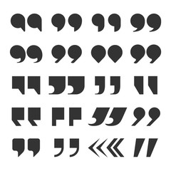 Quotes marks. Quotation marking speech punctuation excerpt commas double comma. Remark button vector set