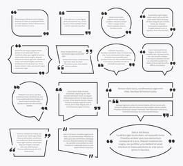 Quote boxes. Quotation sentence box design, idea paragraph marks comment sentencing mention description bubbles with commas vector set