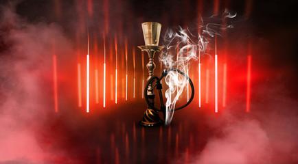 Hookah on a beautiful oriental background, smoke
