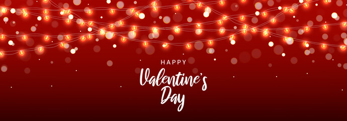 Happy Valentine's Day banner. Vector illustration with realistic glowing garlands with light bulbs in the form of heart. Holiday greeting card.