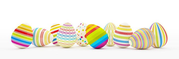 Frohe Ostern - 10 farbenfrohe, bemalte Ostereier auf weißem Hintergrund - Oster