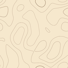 Topographic contours. Admirable topographic map. Seamless design, comely tileable isolines pattern. Vector illustration.