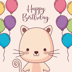 cute cat happy birthday card with balloons helium