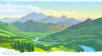 The mountains, the meadows, the green landscape and the river. Vector Image.