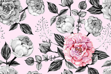 Seamless pattern pink and gray rose flowers vintage on pastel color isolated  background. Watercolor illustration hand drawn.