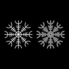 Helm of awe aegishjalmur or egishjalmur icon set white color illustration flat style simple image
