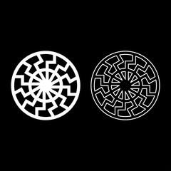 set white sun symbol icon set white color illustration flat style simple image