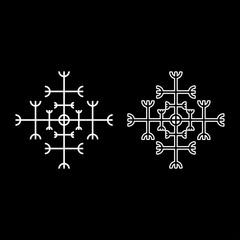 Helm of awe aegishjalmur or egishjalmur galdrastav icon set white color illustration flat style simple image