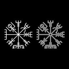 Vegvisir runic compass galdrastav Navigation compass symbol icon set white color illustration flat style simple image