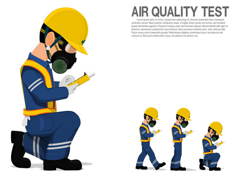A worker with respiration mask is testing air quality