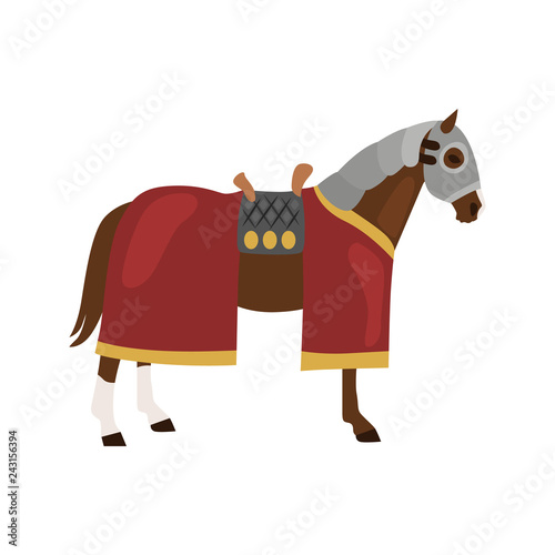 middle ages time horse color flat icon