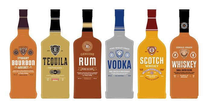 Bottle mockups with alcoholic drink labels