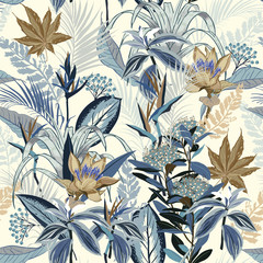 Monotone in blue Summer wild forest full of  blooming flower in many kind of florals seasonal seamless pattern vector ,hand drawing style for fashion, fabric and all prints