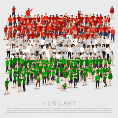 Crowd of people in shape of Hungary flag : Vector Illustration