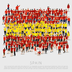 Crowd of people in shape of Spain flag : Vector Illustration