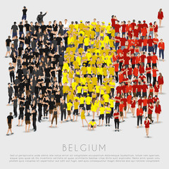 Crowd of people in shape of Belgium flag : Vector Illustration