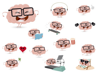 cartoon collection of a funny brain in different situations