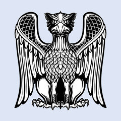 Decorative griffin. Medieval gothic style concept art. Design element. Black a nd white drawing isolated on grey background. EPS10 vector illustration