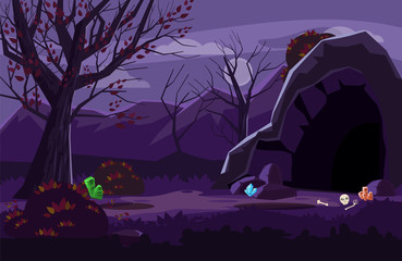 Night fantasy landscape, mountains, cave, trees, autumn. For games and applications. Vector, illustration, isolated. Cartoon style