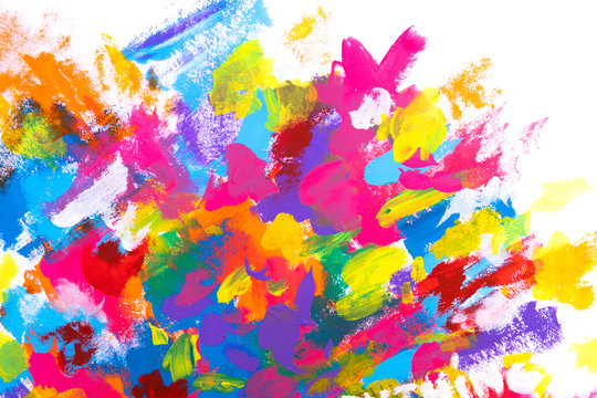Hand painted colourful overlapping brushstrokes with thick texture on white background