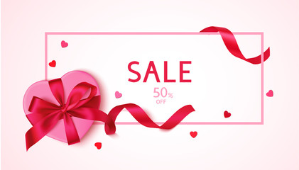 Wall Mural - Valentines day sale design template. Pink frame with decorative gift box red bow and heart confetti. Vector illustration