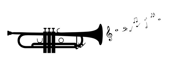Trumpet Silhouette With Flying Notes - Black Vector Illustration - Isolated On White Background Wall mural