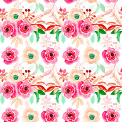 Seamless pattern with watercolor floral bouquet
