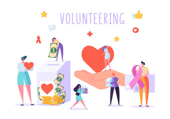 Social Donate Volunteer Character Banner. People Money Charity Work Heart Symbol Poster. Human Care Aids Ribbon. Homeless Crowdfunding Support Organization Flat Cartoon Vector Illustration