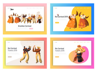 Brazil Carnival Dancer Landing Page Set. Latino Woman Character Dance in Exotic Feather Bikini Costume at Rio de Janeiro Festival Celebration for Website or Web Page Flat Cartoon Vector Illustration