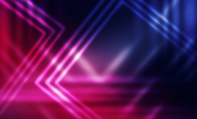 Empty dark futuristic background with lines and neon rays. Trend color purple, blue