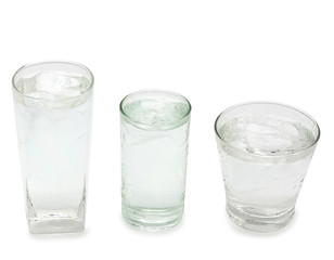three glass with water and ice isolated on white background with clipping path - Image,Copy space