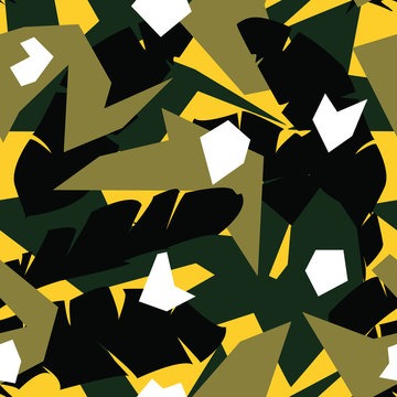 Camouflage pattern in geometric forms and with palm leaves in vector.