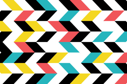 Abstract background pattern made with parallelogram shapes in blue, yellow, red and black colors. Modern, playful vector art.