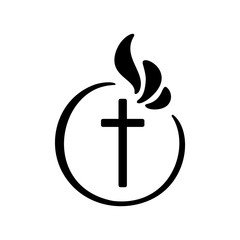 Vector illustration of Christian Logo. Emblem with concept of Cross with Religious community Life. Design element for poster, logo, badge, sign