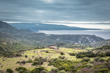 Panorama  of the mountains  and ocean at  North Eastern coast of Sardinia, Italy