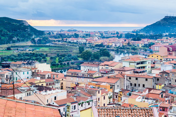 Aerial view from the castle of Bosa, a colofrull small village  in Sardinia, Italy