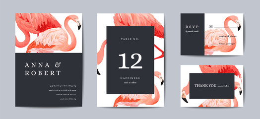 Wedding Invitation Card Template Set. Tropical Flamingo Birds Save the Date or Congratulation Cards. Wedding Invite, Table Number Design Background. Vector illustration