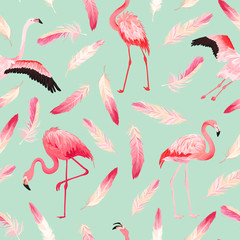 Canvas Prints Tropical Flamingo seamless vector summer pattern with pink feathers. Exotic Pink Bird background for wallpapers, web page, texture, textile. Animal Wildlife Design
