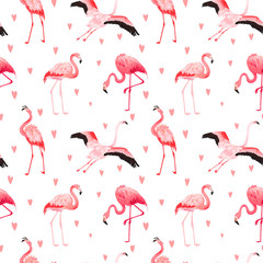Canvas Prints Tropical Flamingo seamless vector summer pattern with hearts. Exotic Pink Bird background for wallpapers, web page, texture, textile. Animal Wildlife Design