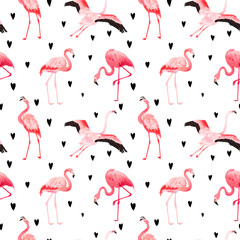 Canvas Prints Flamingo Tropical Flamingo seamless vector summer pattern with hearts. Exotic Pink Bird background for wallpapers, web page, texture, textile. Animal Wildlife Design