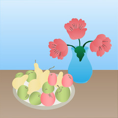 Red poppies in a vase and a fruit platter on the table