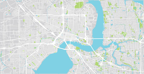 Urban vector city map of Jacksonville, Florida, United States of America