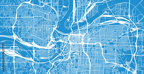 Urban vector city map of Kansas City, Missouri, United States of ...